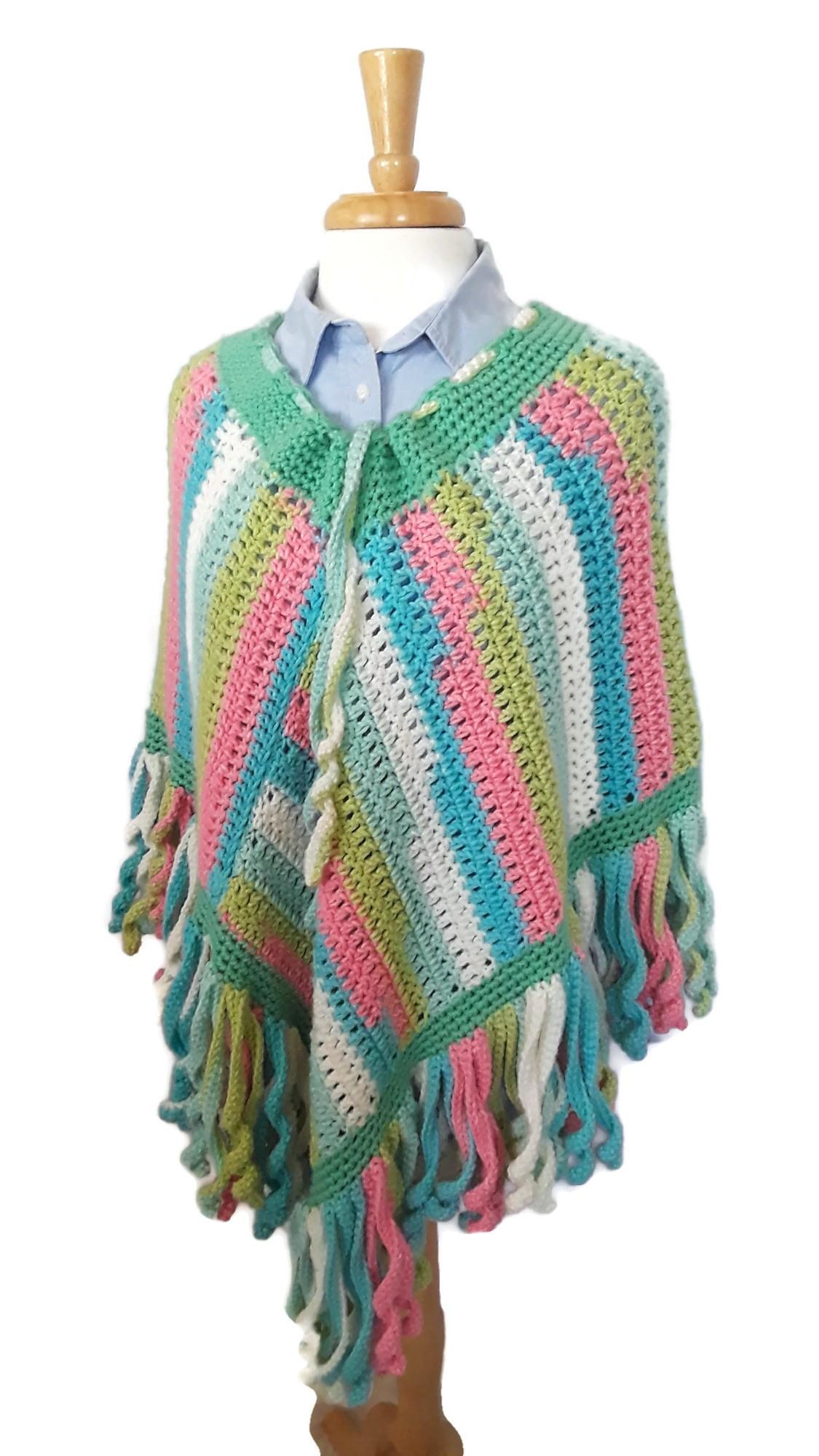 Purple Fringed Poncho | Sultana's Crochet
